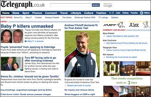 Telegraph homepage