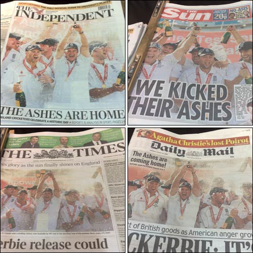 Ashes victory fronts pages