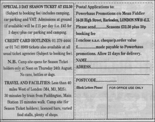 Postal ticket application form for Reading