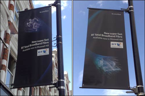 BT promotional posters on lampposts at Muswell Hill