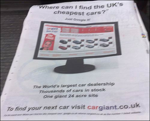 Cargiant.co.uk advert in Metro