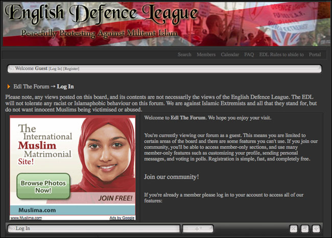 English Defence League forum with Google Ad for Muslim dating service