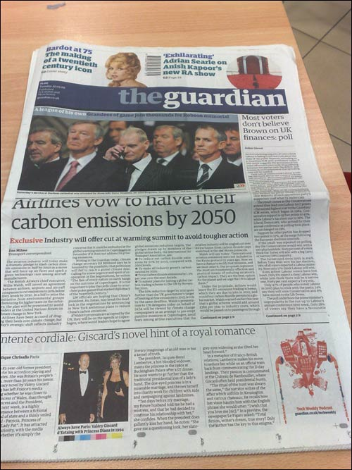 The Guardian front page on 22nd September 2009