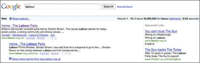 The Sun and Labour Google ads