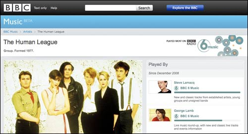 BBC Music beta Human League page