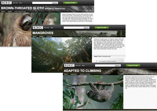 BBC Nature page screenshots
