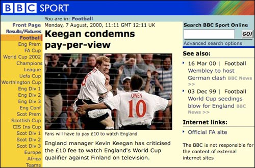 Keegan on the BBC Sport site in 2000 about the Finland game