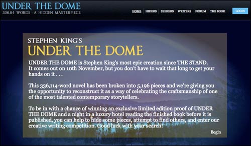 Stephen King 'Under The Dome' homepage