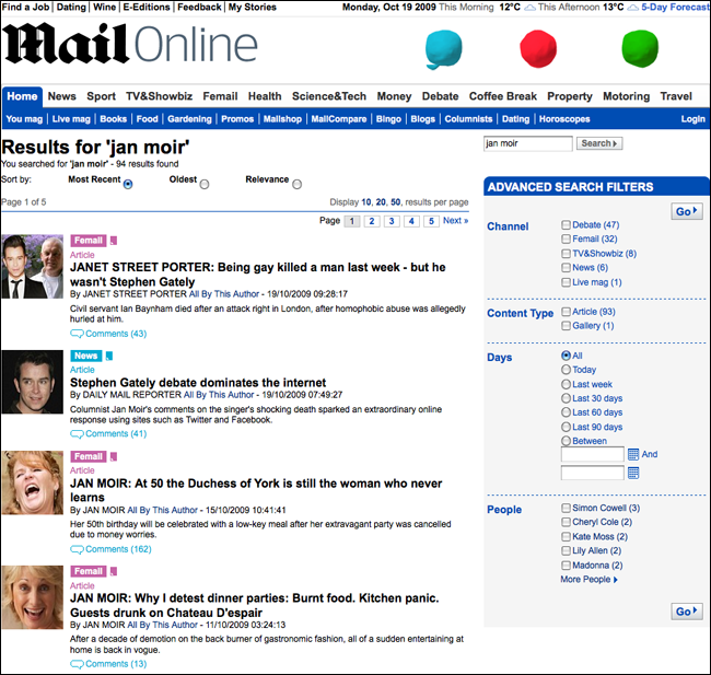 Daily Mail search for Jan Moir with one key result missing