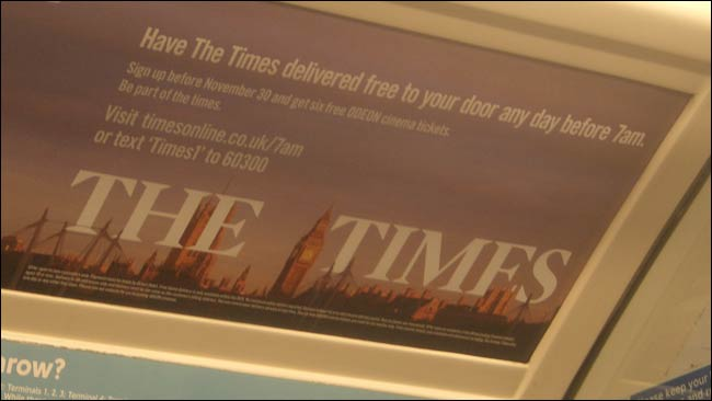 The Times 7am offer advert on the tube