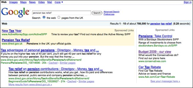 Conservative budget AdWords adverts