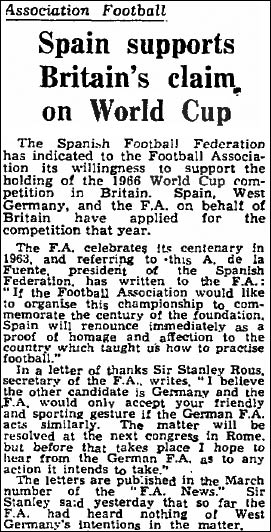 1966 World Cup bid process in The Guardian in 1960