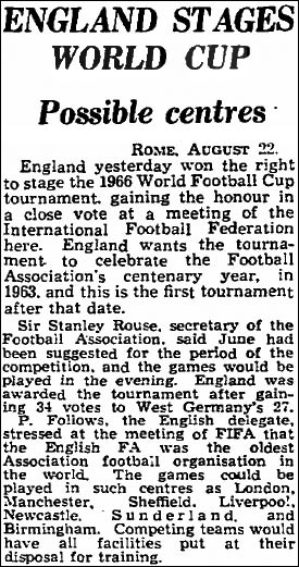 England awarded the World Cup in 1960 from The Guardian