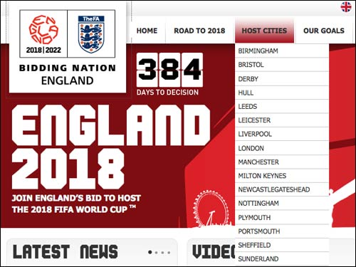 England 2018 bid website