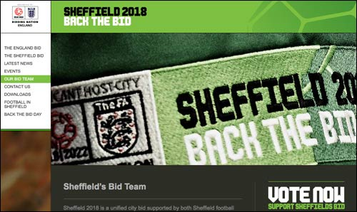 Sheffield World Cup bid website