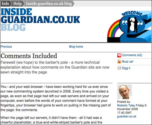 Roberto Tyley's Guardian blog post about comments