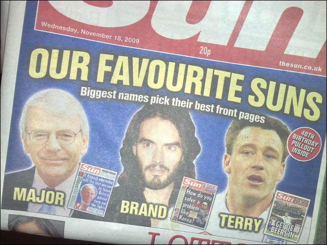 The Sun pimping Russell Brand