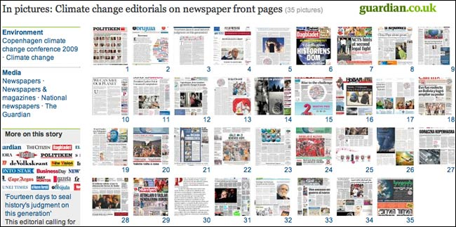 Thumbnail gallery view of climate change front pages