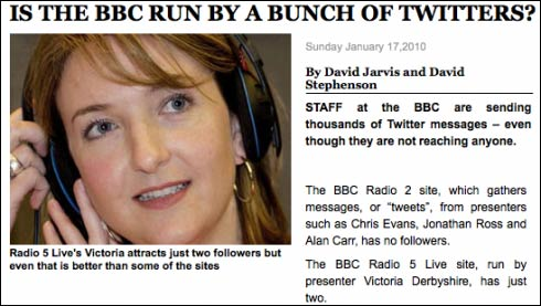 Crazy Sunday Express story about the BBC and Twitter, so wrong it had to be deleted