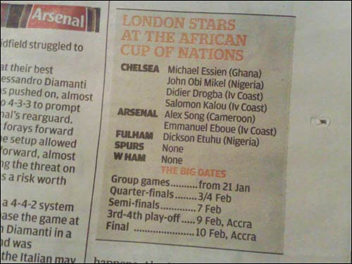 Evening Standard Accra howler