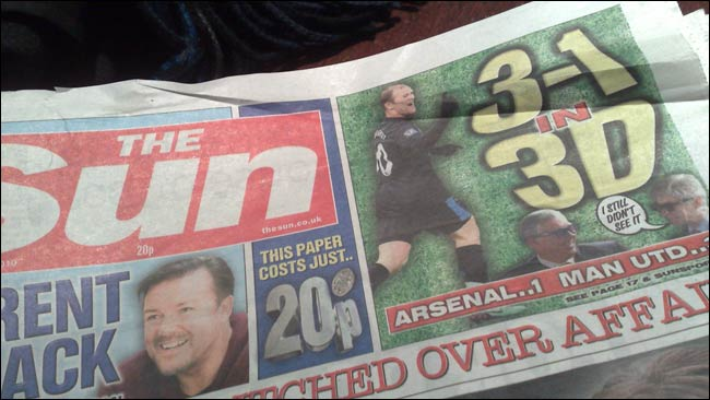 The Sun's 3-1 in 3D front page