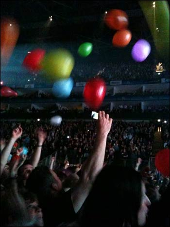 Balloons released by fans during Depeche Mode's O2 show