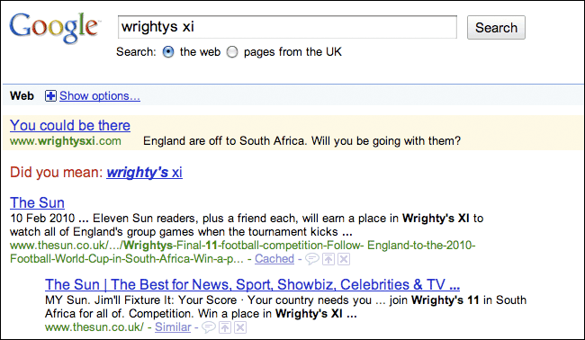 The Sun adverts on Google