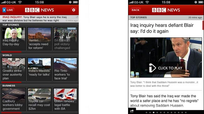 BBC News iPhone application