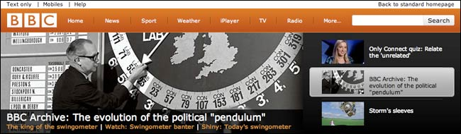 BBC Beta homepage with an old school pendulum in action