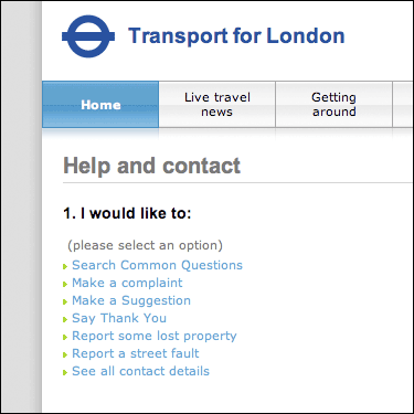 TFL customer comments form