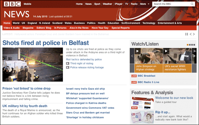 The redesigned BBC News homepage