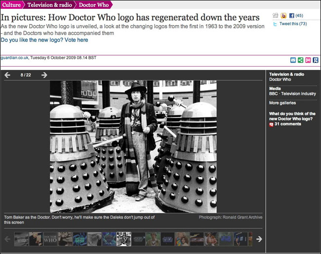 Tom Baker stars in one of The Guardian's new gallery layouts