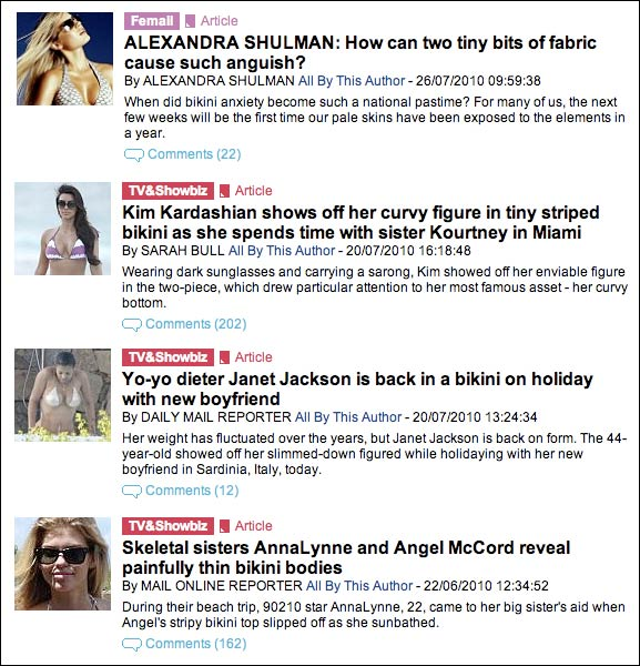 A selection of Daily Mail 'bikini' search results