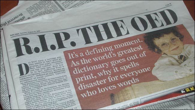 Daily Mail article: RIP OED
