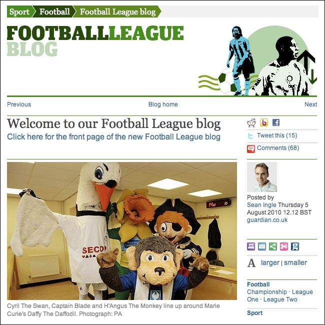 The Guardian's Football League Blog