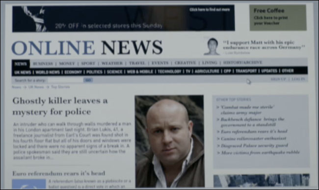 The 'Online News' website in the BBC's recent Sherlock