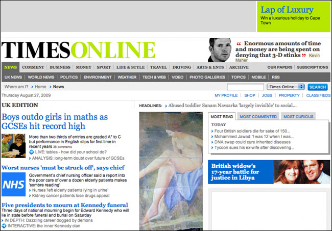 Times Online homepage in the pre-paywall era