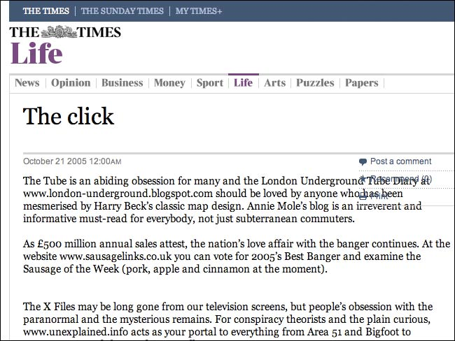The Times 'Click' column with no hypertext links
