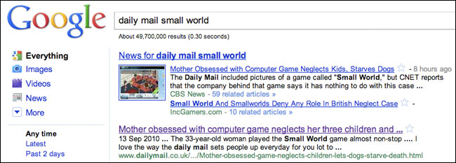 Google has news stories about the Daily Mail's error over Small World