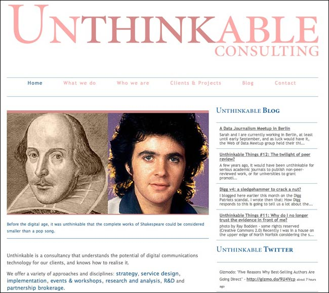 Unthinkable Consulting website featuring David Essex alongside William Shakespeare