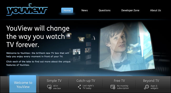 YouView website with Matt Smith as Doctor Who
