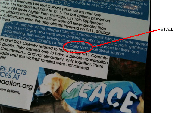 9/11 truther leaflet citing the Daily Mail