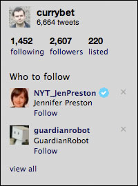Twitter urges me to follow the Guardian Robot