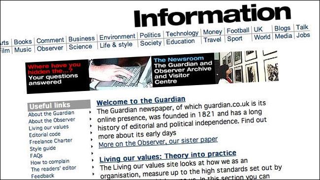 Guardian online information old skool style