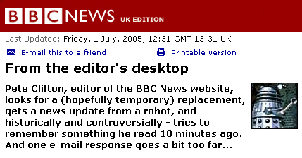 Pete Clifton editor's column in 2005