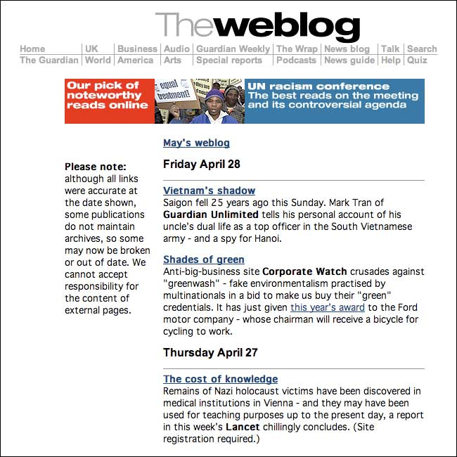 The weblog on guardian.co.uk