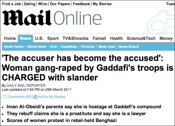 Mail Libya Gang Rape Headline