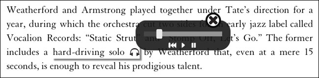 Appropriate clips of songs are embedded in the text
