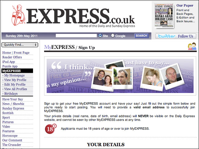 Daily Express MyEXPRESS sign-up form