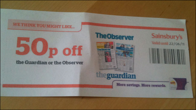 Sainsburys voucher for The Guardian or Observer